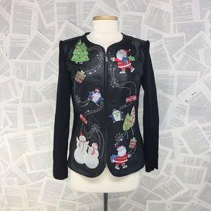 Leather Jacket Christmas Jacket Santa Penguin SM